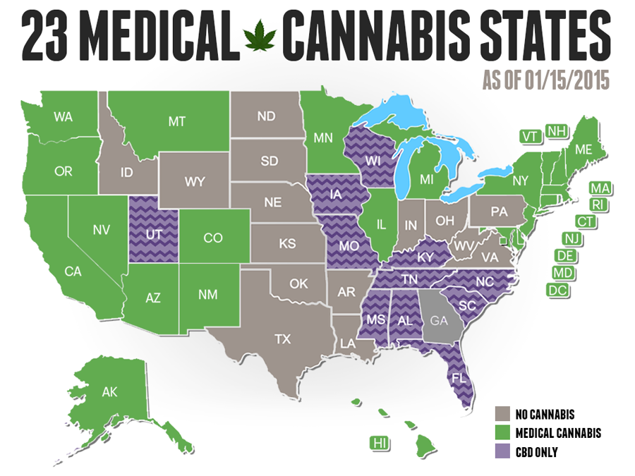 Medical cannabis united states map