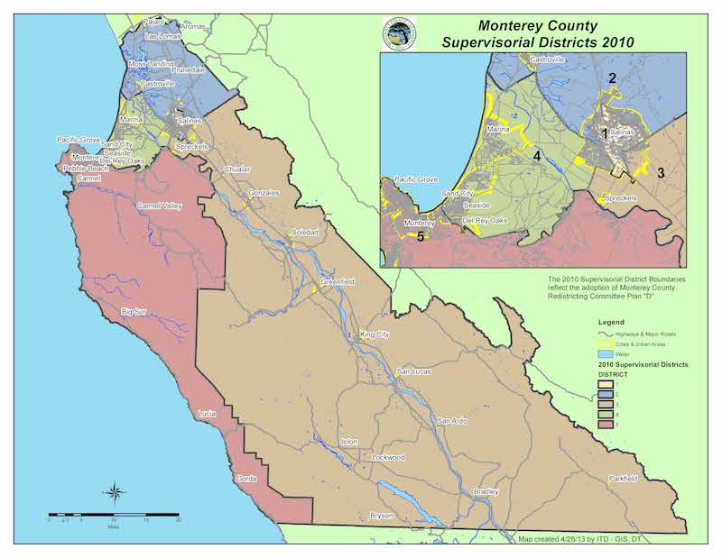 Monterey County Supervisor Districts Map